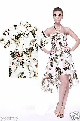 Couple Matching Shirt Dress Outfit Hawaiian Cruise Valentine Wedding OrchidCream