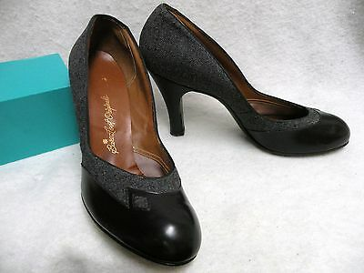 VTG 40's Barefoot Originals Gray Wool & Black Leather Pumps 9AAA (3A) Beautiful!