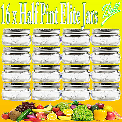 16 x Ball Mason Half Pint 240ml Elite Collection Wide Mouth Jars and Lids
