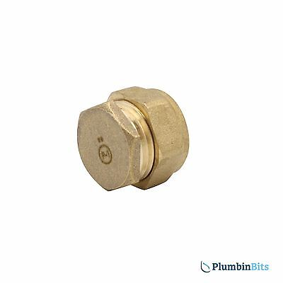 Compression 15mm Brass Blanking Stop End Fitting to Cap & Blank Off Copper Pipe
