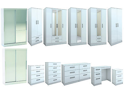 Birlea Lynx White Gloss Bedroom Furniture Wardrobe Chest..Large Sizes