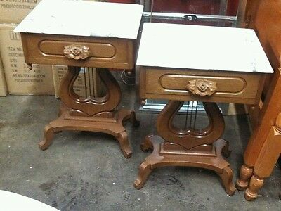 Pair Victorian  Style Carved Solid Mahogany Marble Top Tables Lyre Base