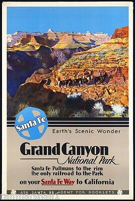 1930s Grand Canyon National Park Vintage Railroad Travel Advertisement Poster
