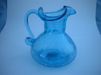 Nice Hand Crafted Blue Crackle Glass Pitcher Vase