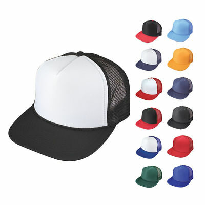 1 Dozen Flat Bill Blank 5 Panel Mesh Foam Trucker Baseball Hats Caps Wholesale