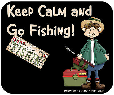 Mouse Pad, Thick Mousepad-Keep Calm, Go Fishing