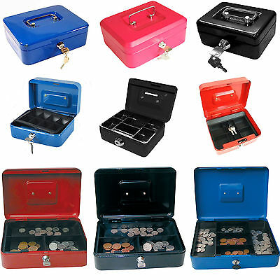 "Key Lockable Storage Security Petty Cash Money Box Small 4"" 6"" 8"" 10"" 12"""