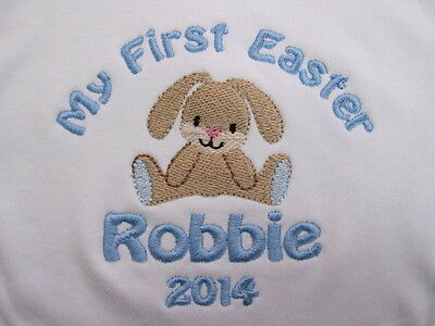 Personalised Baby Bib - Embroidered for Baby's 1st Easter 2018 - Rabbit - Gift