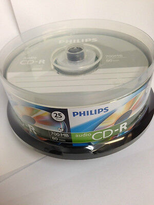 25-pack Philips branded Digital Audio CD-R DA Music Recordable CD Disk CD80R551
