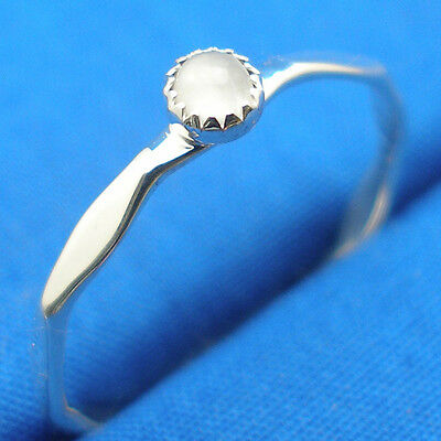 Moonstone Hammered sterling silver stacker ring band, Hand Crafted stackable