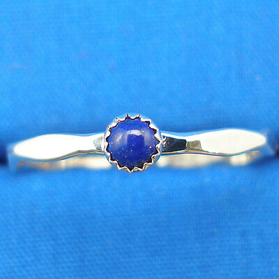 Lapis Lazuli Hammered Silver stacker ring band, Hand Crafted stackable, stacking