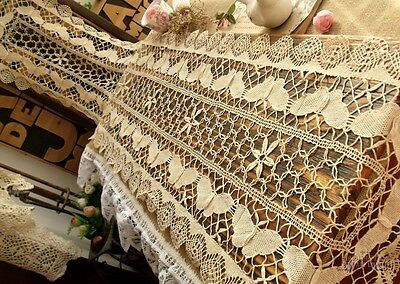 """72"""" GORGEOUS FAIRY ~Vtg Cluny Bobbin Lace Table Runner Ecru Butterfly ANTIQUE"""
