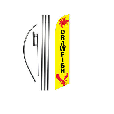 Crawfish Craw Fish 15' Feather Banner Swooper Flag Kit with pole+spike
