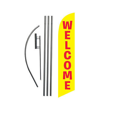 Welcome (yellow) 15' Feather Banner Swooper Flag Kit with pole+spike