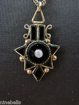 Exquisite Victorian Mourning? Onyx/Jet Camphor Glass/Moonstone Pendant