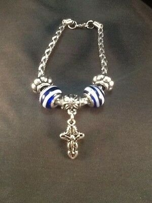 Plus One Collection Leather Bracelet w/ Blue Beads & Crucifix Lent Easter