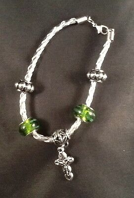 Plus One Collection Leather Bracelet w/Green Beads & Crucifix Lent Easter
