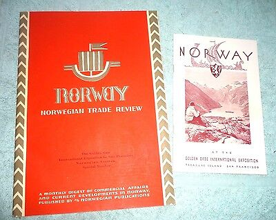 LOT OF 2 NORWAY NORWEGIAN THE GOLDEN GATE INTERNATIONAL EXPO SAN FRANCISCO 1939