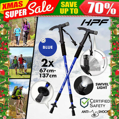 NEW HPF Hiking Trekking Poles Walking Sticks Adjustable LED Anti Shock Camping