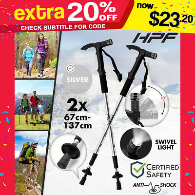 NEW HPF Hiking Trekking Poles Walking Sticks LED Adjustable  Anti Shock Camping