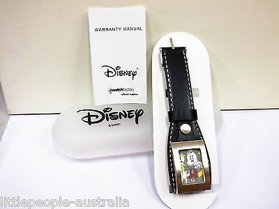 ★Disney Mickey Mouse Black Leather Band Boys Watch Jewellery Accessories NEW