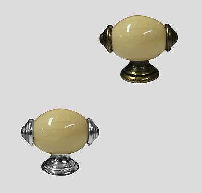 Cream Crackle Glaze Porcelain Ceramic Cabinet Cupboard Door Pull Knob
