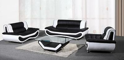 New Napoli Leather 3+2 Seater Sofa Coffee Table Armchair Black White Brown Red