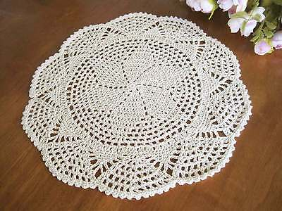 Vintage Style Floral Hand Crochet Cotton Beige Doily NEW