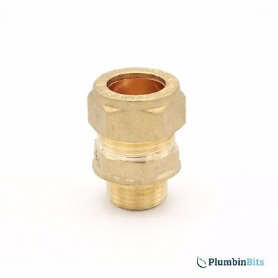 "Compression 15mm Copper to 3/8"" BSP MI Brass Male Iron Thread Connector Adapter"