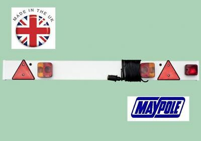 New MAYPOLE CAR CARAVAN TRAILER LIGHT BOARD 4.6FT With 6 Metre Cable & Fog Lamp