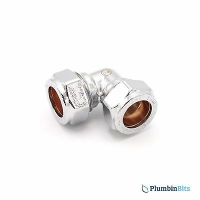 Compression 15mm Chrome Plated on Brass Copper Pipe 90 degree Elbow CP Fitting