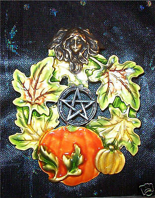 Pentacle Faery Wreath Pin, Samhain Autumn, Witch Wicca