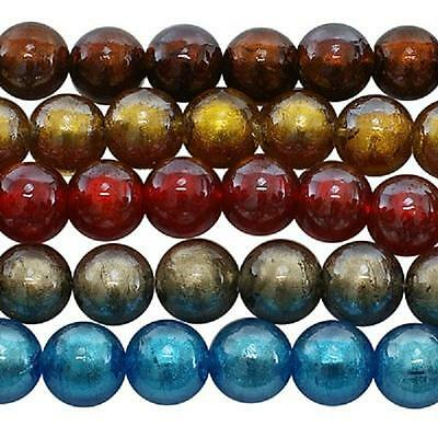 10 x Silver Foil Glass Round Beads ~Assorted Colours~ 12mm