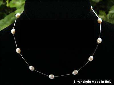 White Cultured Pearl Tincup Necklace - 925 SOLID Silver