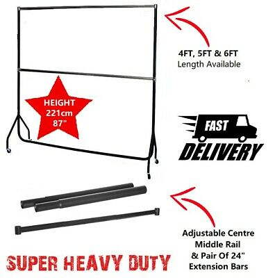 Black Adult Heavy Duty Hanging Tall Double Clothes Rail Garment Ext New Rails