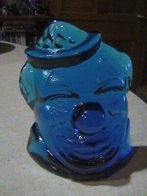 Wheaton Glass Heavy Blue Clown Bookend Paperweight Decoration Marked