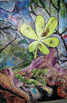 Original Painting: Mixed Media Semi Abstract: Rainforest Spring