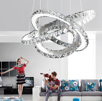 LED Modern Contemporary Crystal Chandelier Ceiling Pendant Lighting Lampshade