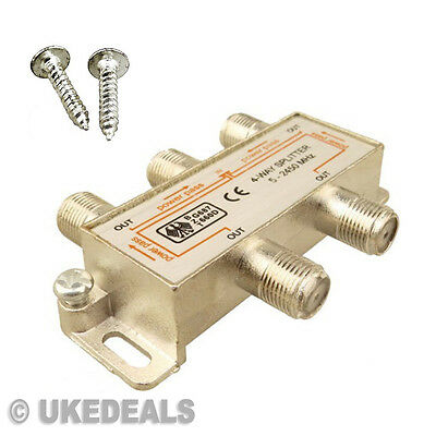 SATELLITE SIGNAL SPLITTER 4 WAY FEMALE CATV COAXIAL TV AERIAL CABLE 5-2400MHz NW