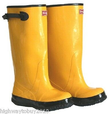 """(6) pair Boss 2KP448109 Size 9 Yellow 17"""" HD Over The Shoe Rubber Knee Boots"""