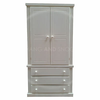 Hand Made Dewsbury Furniture 3 Drawer Wardrobe White(Assembled)