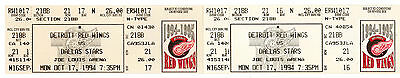 Detroit Red Wings vs Dallas Stars Tickets Oct. 17, 1994 2 joined tickets