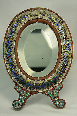 Antique Italian Mosaic Framed Mirror c1910