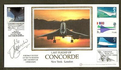 CONCORDE - 2003 Last Flight New York to London Flown Cover Signed Mike Bannister