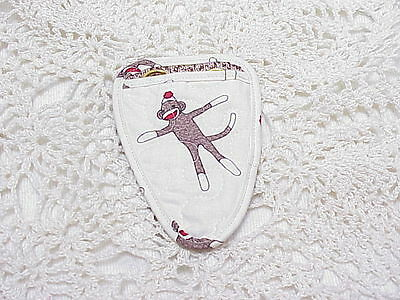 Sock Monkeys on Ivory Fabric Quilted embroidery / needlework scissor holder