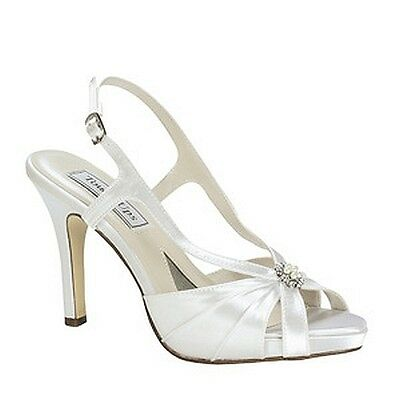 272c0e4d4c8 Dyeable White Satin High Heel Sandal Formal Wedding Prom Bridal Shoes Brie