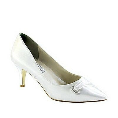 """Touch Ups Chandra Dyeable White Satin 2"""" High Heel Formal Wedding Bridal Shoes"""