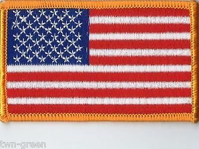"LOT OF 10 USA American Flag Embroidered IRON ON  SEW ON Patch 3-1/2""x2"""
