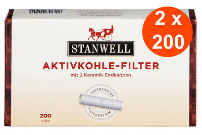 2 x 200 STANWELL Pfeifenfilter 9mm - Pfeife / Pipe Aktivkohle Filter