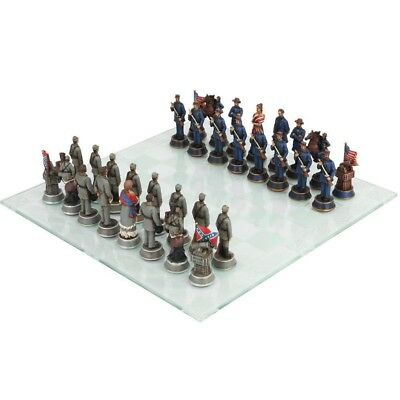 Civil War US North Battle South Chess Pieces Set and Glass Board Collection